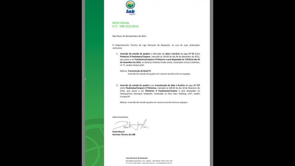 Nota Oficial no site da LNB confirma trasnmissão da RedeTV (Foto: Reprodução/ lnb.com.br)