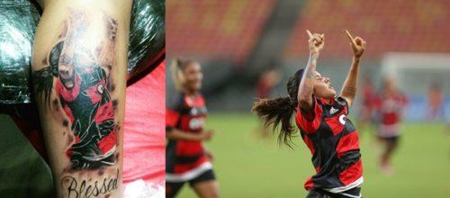 A tatuagem na perna de Gaby, representando sua comemoração no gol marcado contra o Iranduba.
