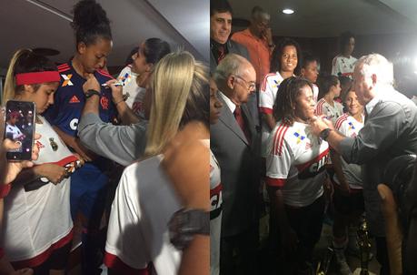 Zico autografa as camisas das atletas
