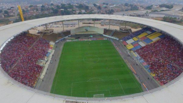 Vista aérea do Kleber Andrade, no jogo de domingo. Imagem: Gazeta Online