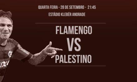 Em Cariacica, Flamengo joga com Palestino por classificação na Sul-Americana