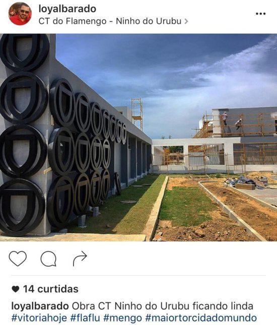 """Esqueleto das estruturas do logotipo do Ninho que vai """"abraçar"""" o CT. Foto Reprodução Instagram"""