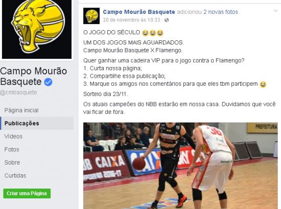 Redes Sociais do Campo Mourão destacando o grande jogo.