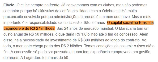 """O próprio diretor de Arenas da Lagardère disse a """"O Globo"""" que o capital social da empresa no Brasil é de R$ 27 mi"""