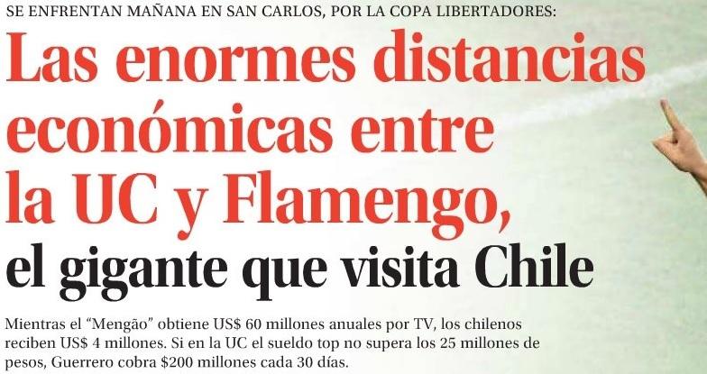 Jornal chileno expõe abismo financeiro entre Flamengo e Católica