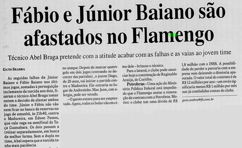 fabio e junior baiano afastados flamengo