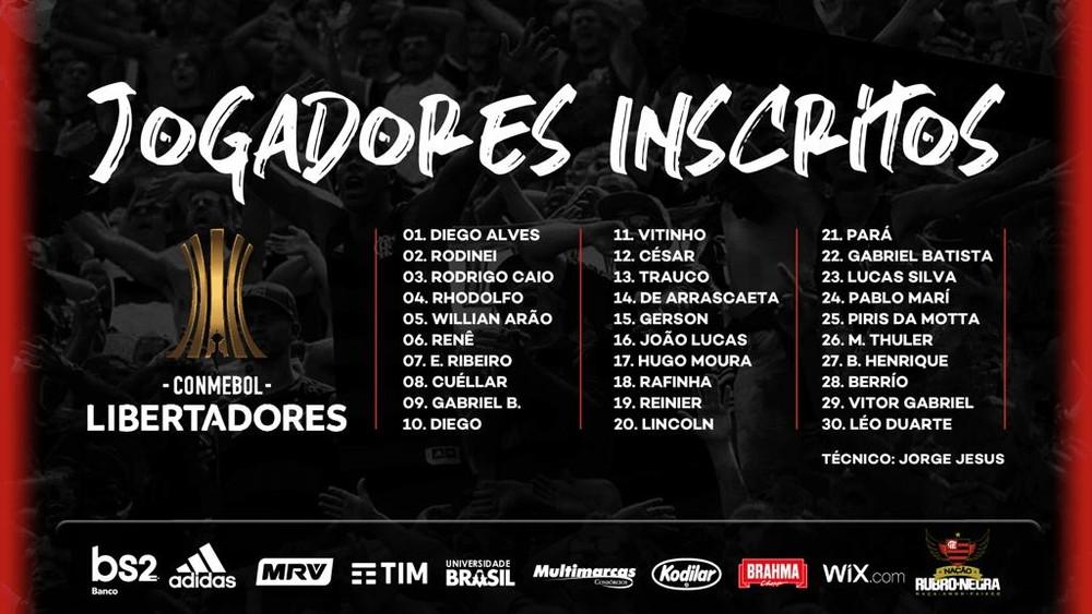 jogadores inscritos na Libertadores